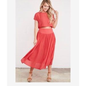 *NWT* Dress Up Coral Midi/Maxi Set in size small